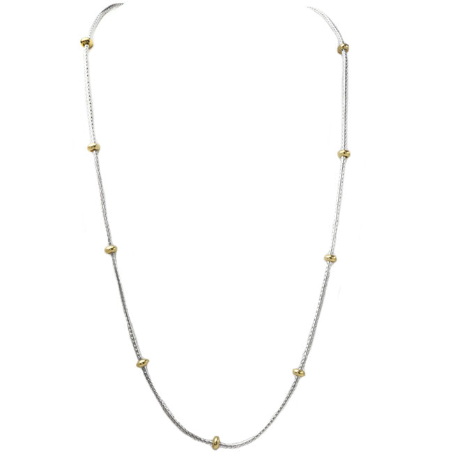 "30"" Silver Chain with Gold Stations Necklace"
