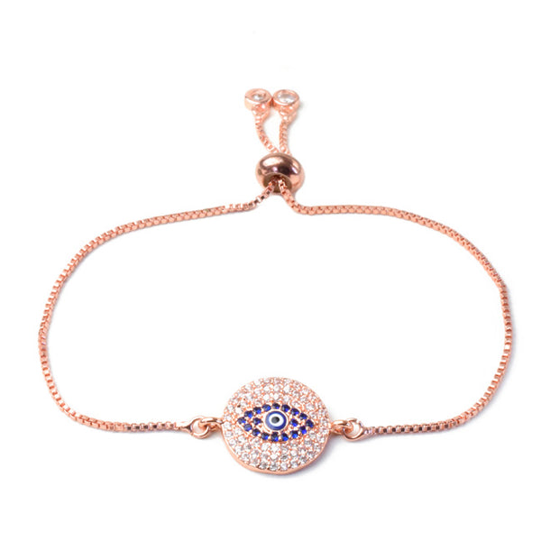 Rose Gold Cubic Zirconia Adjustable Eye Bracelet