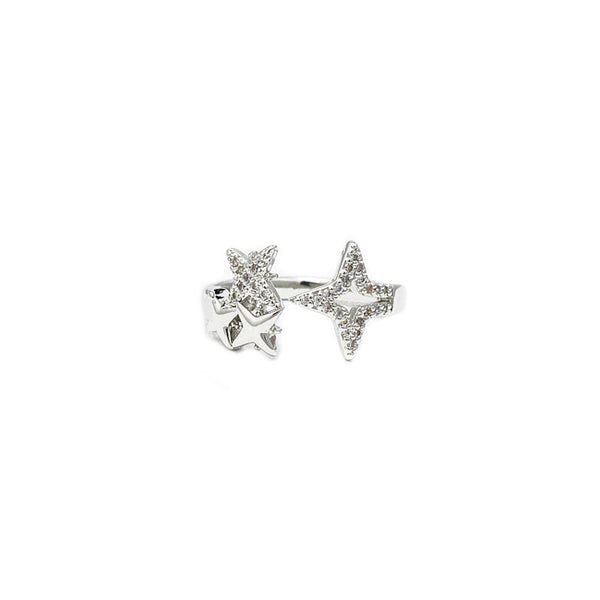 Silver Cz Adjustable Star Ring