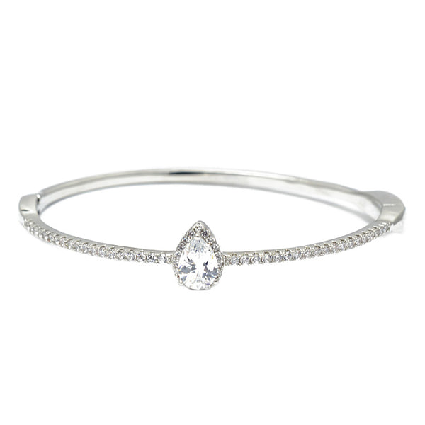 Silver Cubic Zirconia Teardrop Bangle Bracelet