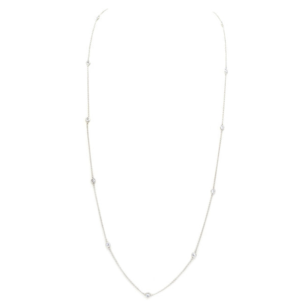 silver diamond by the yard necklace