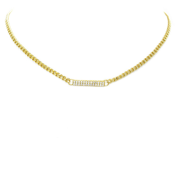 Gold Chain Necklace with Cubic Zirconia Bar Pendant