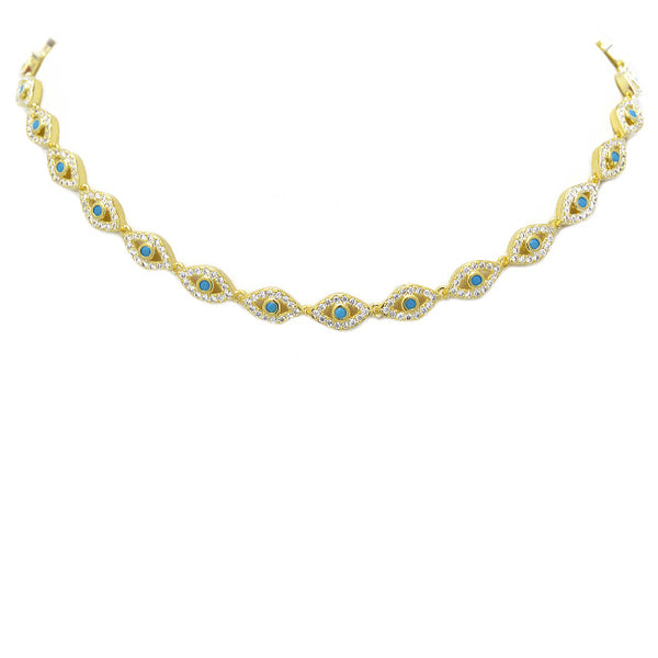 Gold Cz Evil Eye Necklace