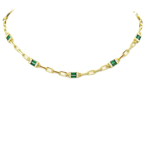 Gold Emerald Green Cubic Zirconia Necklace