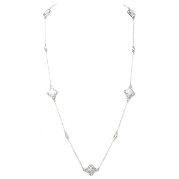 Silver & Pearl Cubic Zirconia Clover Necklace