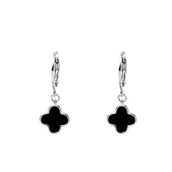 Silver Black Onyx Dangle Clover Earrings