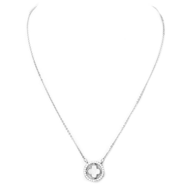 Silver Mother of Pearl Cubic Zirconia Clover Pendant Necklace