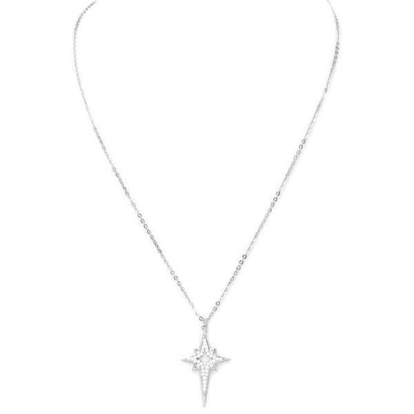 Sterling Silver Cubic Zirconia Starburst Pendant Necklace