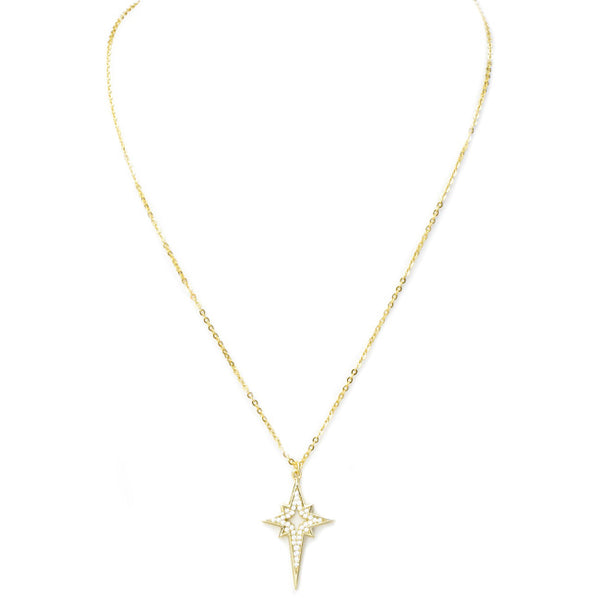Sterling Silver Gold Plated Cubic Zirconia Starburst Pendant Necklace