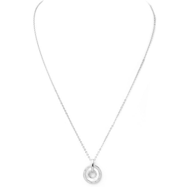 Silver Mother of Pearl Cubic Zirconia Pendant Necklace