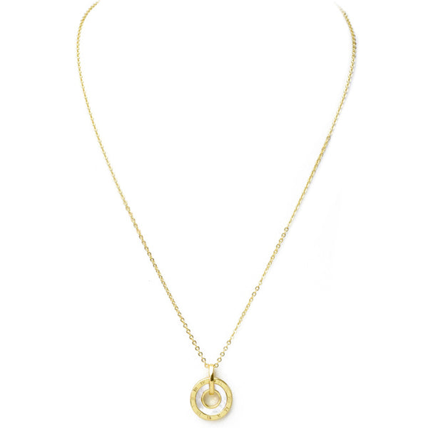Gold Mother of Pearl Cubic Zirconia Pendant Necklace