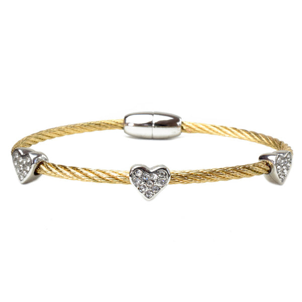 Two Tone Heart Cubic Zirconia Twisted Cable Magnetic Bracelet
