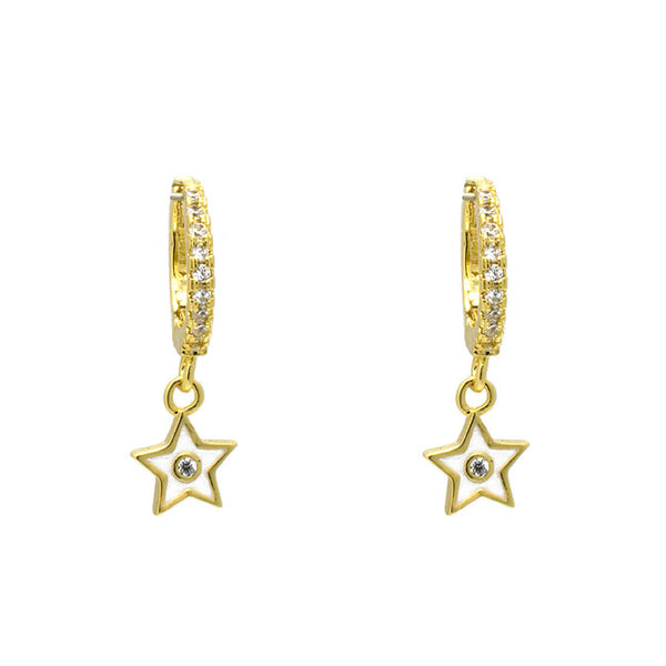 Gold Cubic Zirconia Star Earring