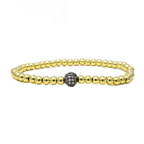 Gold Plated Cubic Zirconia Beaded Stretch Bracelet