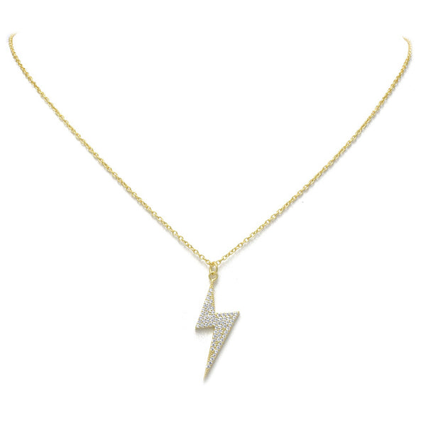 Sterling Silver Gold Plated CZ Lightening Bolt Pendant Necklace