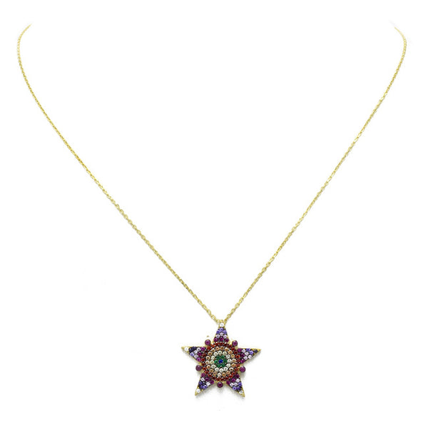 Sterling Silver Gold Plated Multi Color CZ Star Pendant Necklace