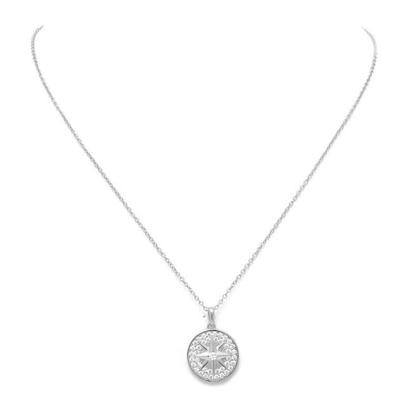 Sterling Silver CZ Pave Starburst Pendant Necklace