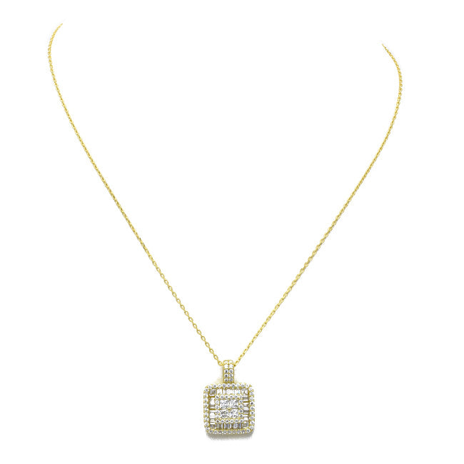 Sterling Silver Gold Plated CZ Pave Square Pendant Necklace
