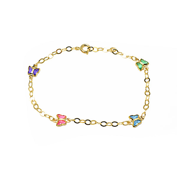 Gold Filled Multi Color CZ Butterfly Chain Bracelet