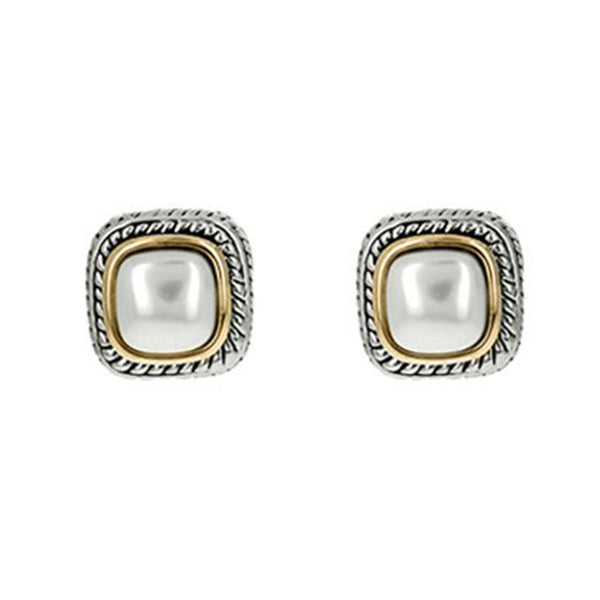 Two Tone Mother of Pearl Clip On Earring