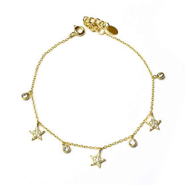 Sterling Silver Gold Plated Cubic Zirconia Adjustable Bracelet with Stars