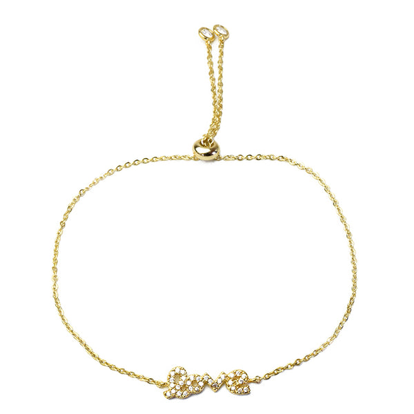 Gold Cubic Zirconia Pull Tie Adjustable Love Bracelet