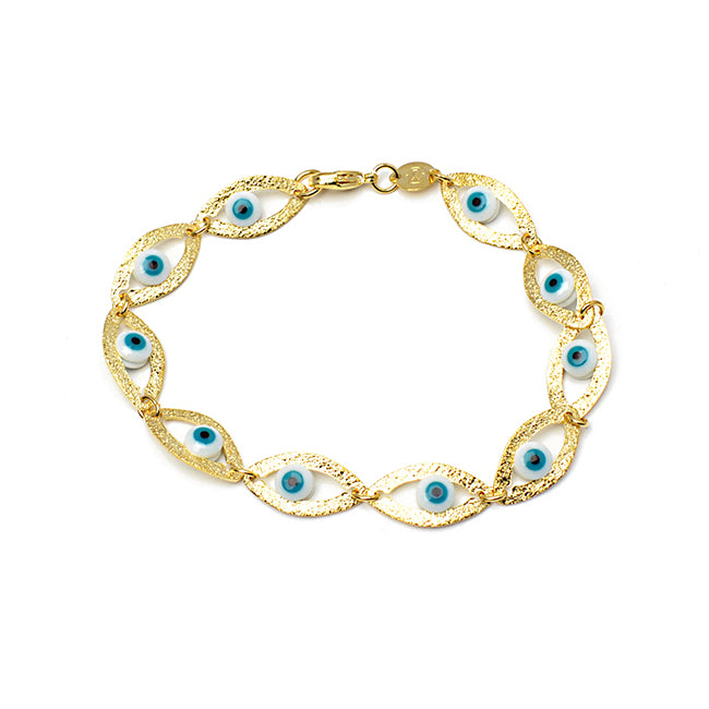 Gold Filled Evil Eye Linked Bracelet