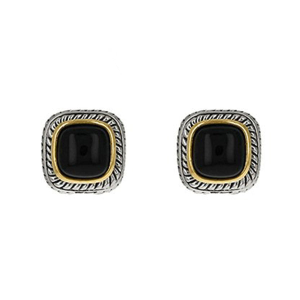 Two Tone Black Onyx French Clip Earring