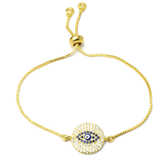 Gold Cz Adjustable Evil Eye Bracelet