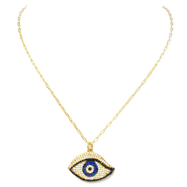 Gold Filled Linked Chain Necklace  with Cubic Zirconia Pave Eye Necklace