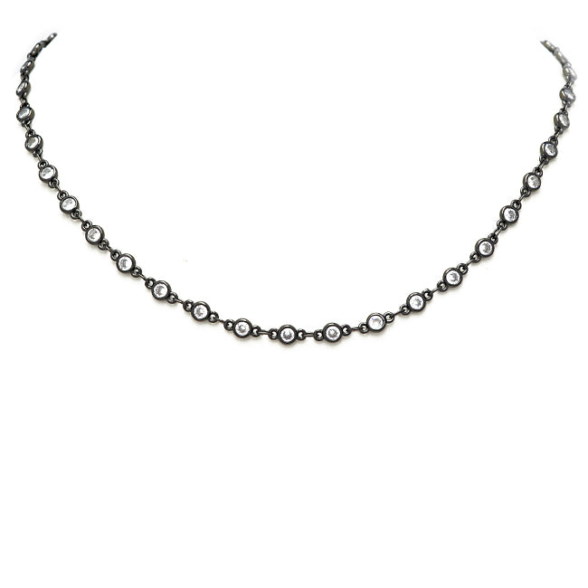 Hematite Cubic Zirconia Tennis Necklace