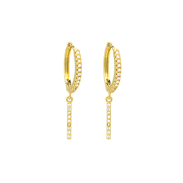 gold cz bar dangle earring