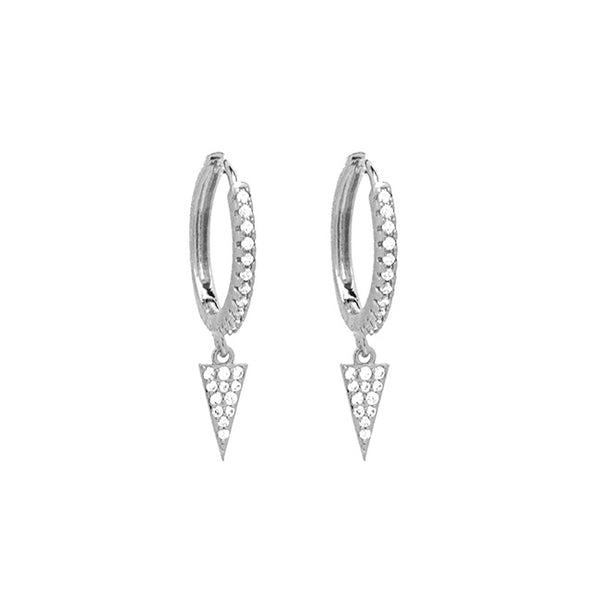 Silver CZ Pave Triangle Dangle Earring