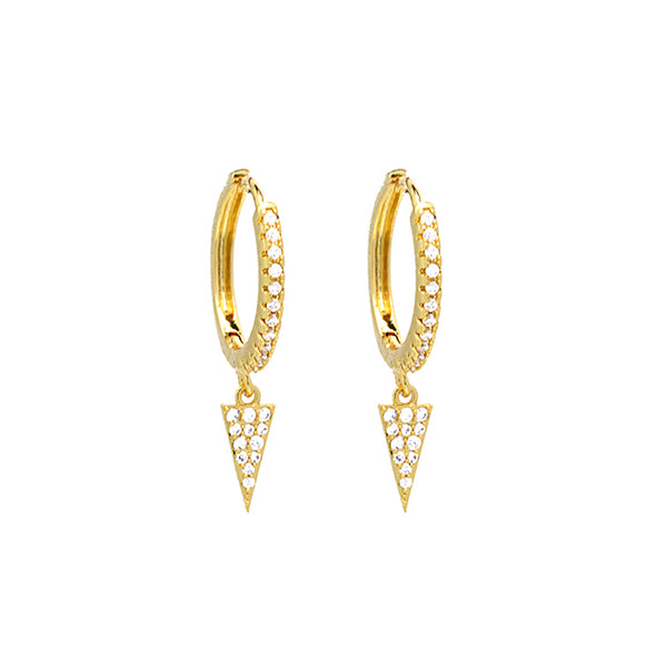 Gold CZ Pave Triangle Dangle Earring