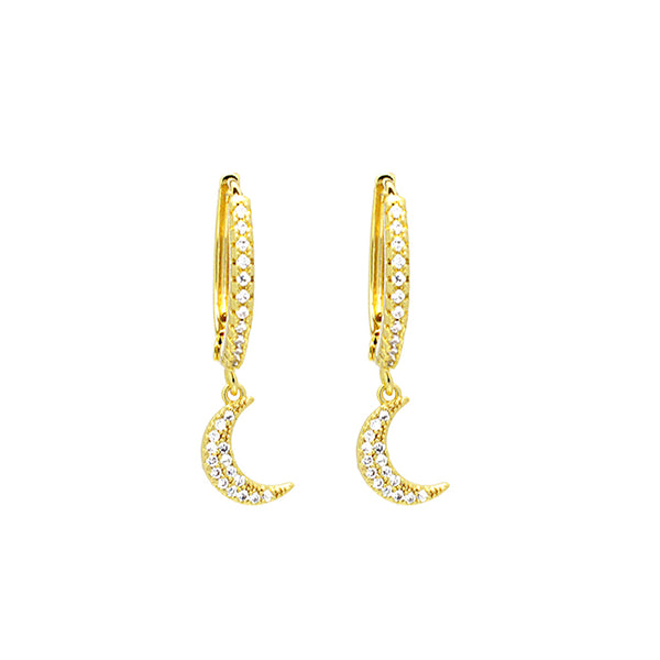 gold cz moon dangle earring