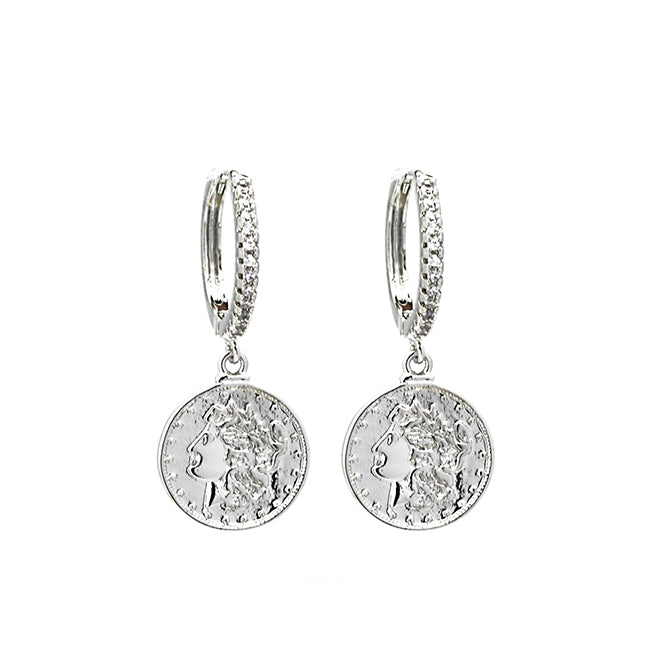 Silver Cz Coin Dangle Earring