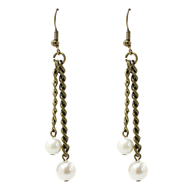 Antique Gold Dangle Earrings with Pearls