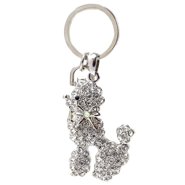 Silver Crystal Studded Poodle Keychain