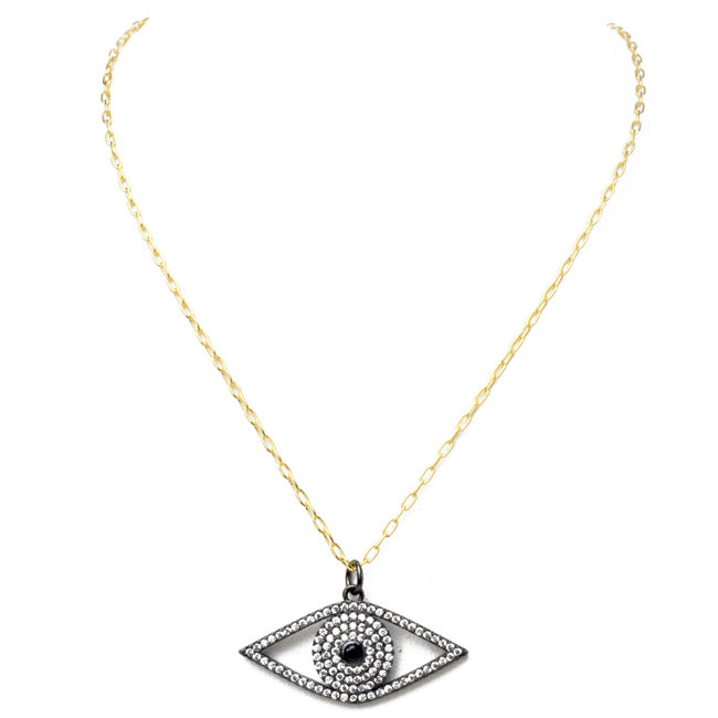 Gold Filled Linked Chain Necklace with Cubic Zirconia Eye Necklace