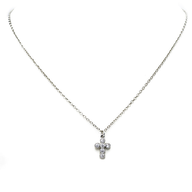 silver cz cross necklace