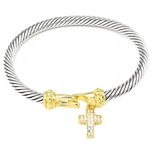 Two Tone Twisted Cable Bracelet with Cubic Zirconia Cross Charm