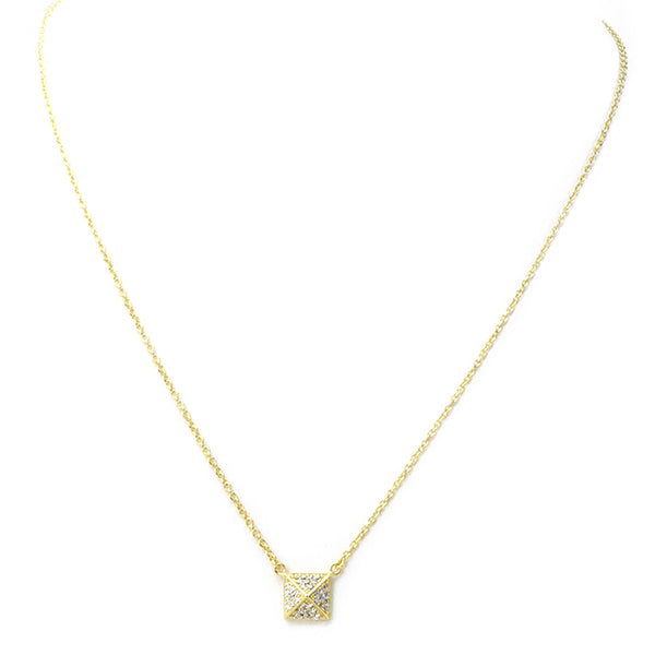 Sterling Silver Gold Plated Cubic Zirconia Pave Pendant Necklace