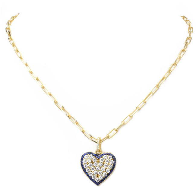 Gold Linked Chain Necklace with Cubic Zirconia Heart Pendant