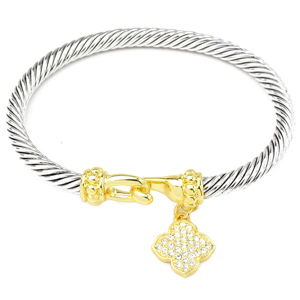 Two Tone Twisted Cable Bracelet with CZ Clover Charm