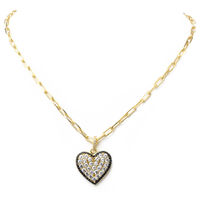 Gold Filled Linked Chain Necklace  with Cubic Zirconia Heart Pendant