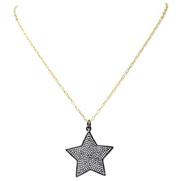 Gold Filled Linked Chain Necklace with Cubic Zirconia Star Pendant