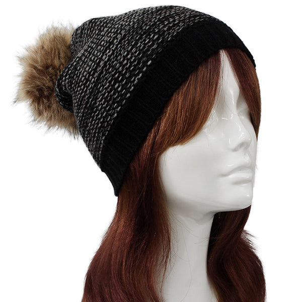 Fur Pom Pom Two Tone Knit Beanie