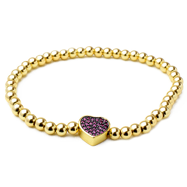 Gold Brass Beaded Stretch Bracelet with CZ Pave Heart Station