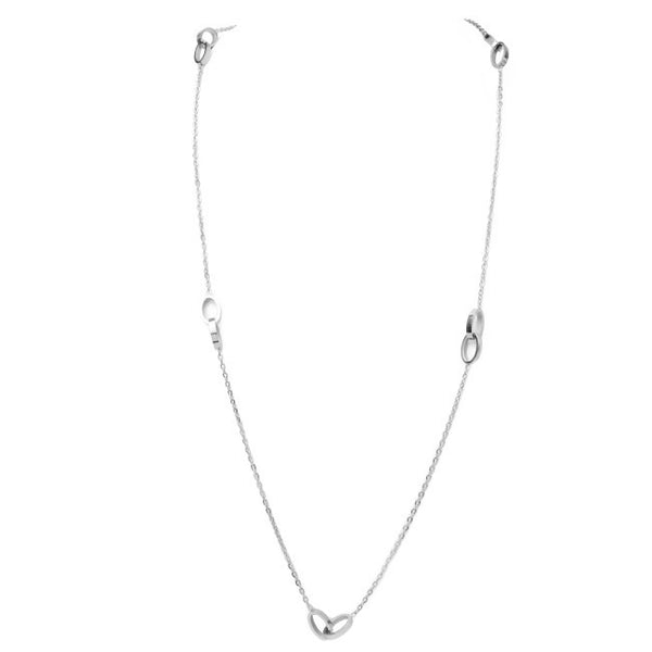 Silver Link Station Long Necklace