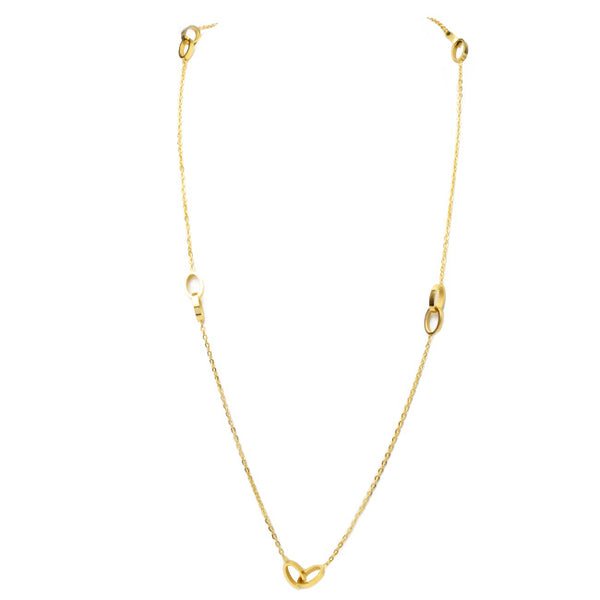 Gold Link Station Long Necklace